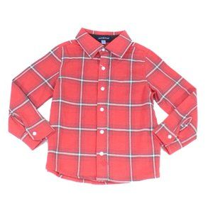 ANDY & EVANS RED MULTI-COLOR PLAID BUTTON SHIRT 5T